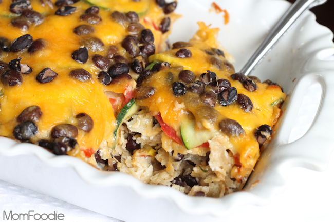 black bean and veggie tortilla ranch casserole