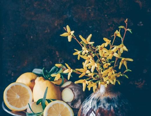 citron, ingefära och forsythia