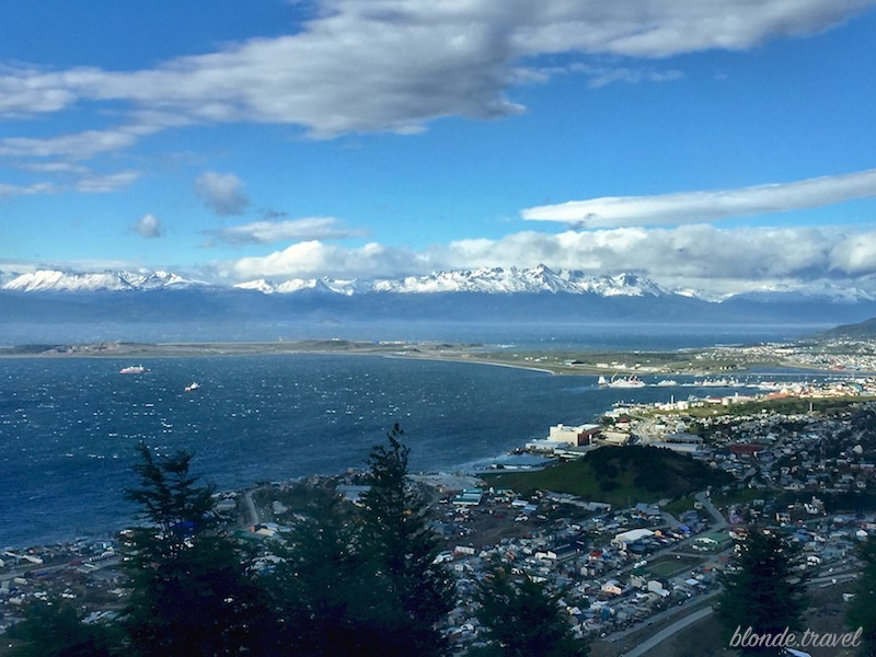 Beagle channel and Ushuaia city view