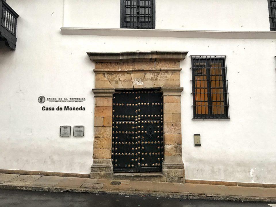 One gorgeous door at the street in La Candelaria, Bogota