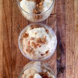 Breakfast parfaits made with locally grown custard apple, fromage blanc and granola.