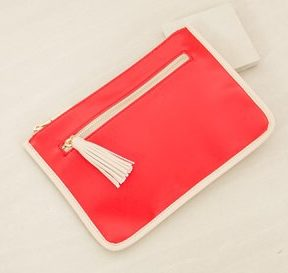 Adorne Two Toned Curved Tassel Clutch