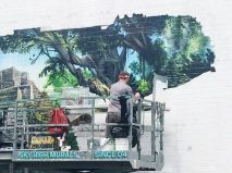 Street art in action.