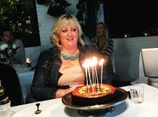 Birthday girl Nell with the delicious Persian Love Cake.