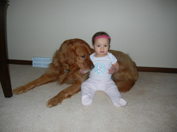9 month old baby with dog