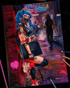 Cyberpunk colored pencils drawing by blondynkitezgraja