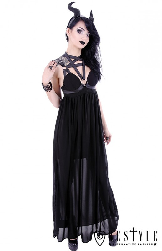 eng_pl_pentagram-dress-black-long-gothic-dress-leather-straps-o-rings-witchy-1609_1