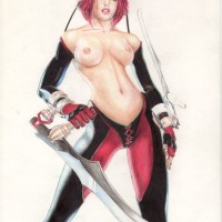 Great picture of Bloodrayne with her blades sharp... and her boobs naked!