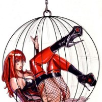Bloodrayne lets to lock up herslef in a cage only because she likes inky fun too