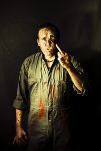 This undead man is a character from a zombie fiction tale in Barbara's anthology.