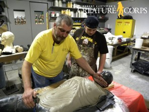 John Schnieder and Cody Wilhite lay up the male werewolf chest mold.