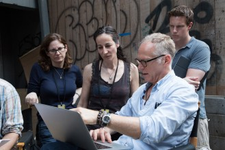 Left to right: Producer Dana Goldberg, Executive Producer/Co-Writer Laeta Kalogridis, Director Alan Taylor, and Producer David Ellison on the set of TERMINATOR GENISYS, from Paramount Pictures and Skydance Productions.