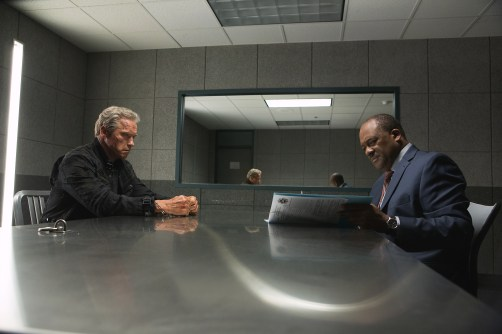 Left to right: Arnold Schwarzenegger plays the Terminator and Gregory Alan Williams plays Detective Harding in Terminator Genisys from Paramount Pictures and Skydance Productions.