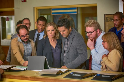 Scott Lawrence as Art Costa, Kim Dickens as Madison and Cliff Curtis as Travis - Fear The Walking Dead _ Season 1, Episode 1 - Photo Credit: Justin Lubin/AMC
