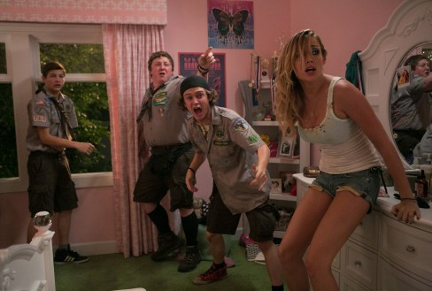 Left to right: Tye Sheridan plays Ben, Joey Morgan plays Augie, Logan Miller plays Carter and Sarah Dumont plays Denise in SCOUTS GUIDE TO THE ZOMBIE APOCALYPSE from Paramount Pictures.