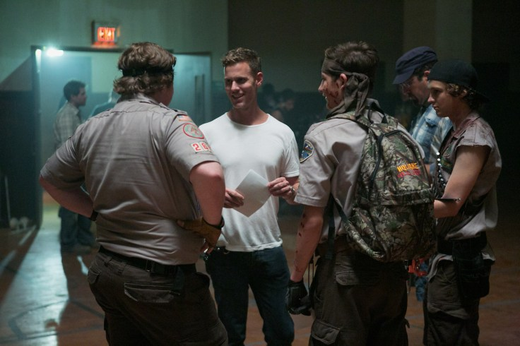 Left to right: Joey Morgan, Director Christopher Landon, Tye Sheridan and Logan Miller on the set of SCOUTS GUIDE TO THE ZOMBIE APOCALYPSE from Paramount Pictures.