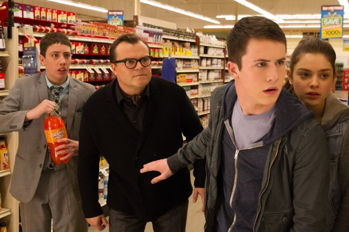 """L-r, Ryan Lee, Jack Black, Dylan Minnette and Odeya Rush star in Columbia Pictures' """"Goosebumps."""""""