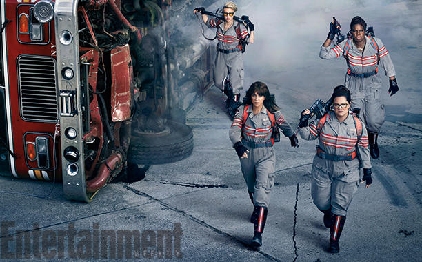 Kristen Wiig, Melissa McCarthy, Kate McKinnon, and Leslie Jones in GHOSTBUSTERS | via Sony Pictures
