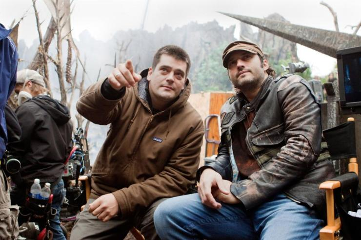 PREDATORS, from left: director Nimrod Antal, Producer Robert Rodriguez, on set, 2010. ph: Rico Torres/TM & Copyright ©20th Century Fox Film Corp. All rights reserved