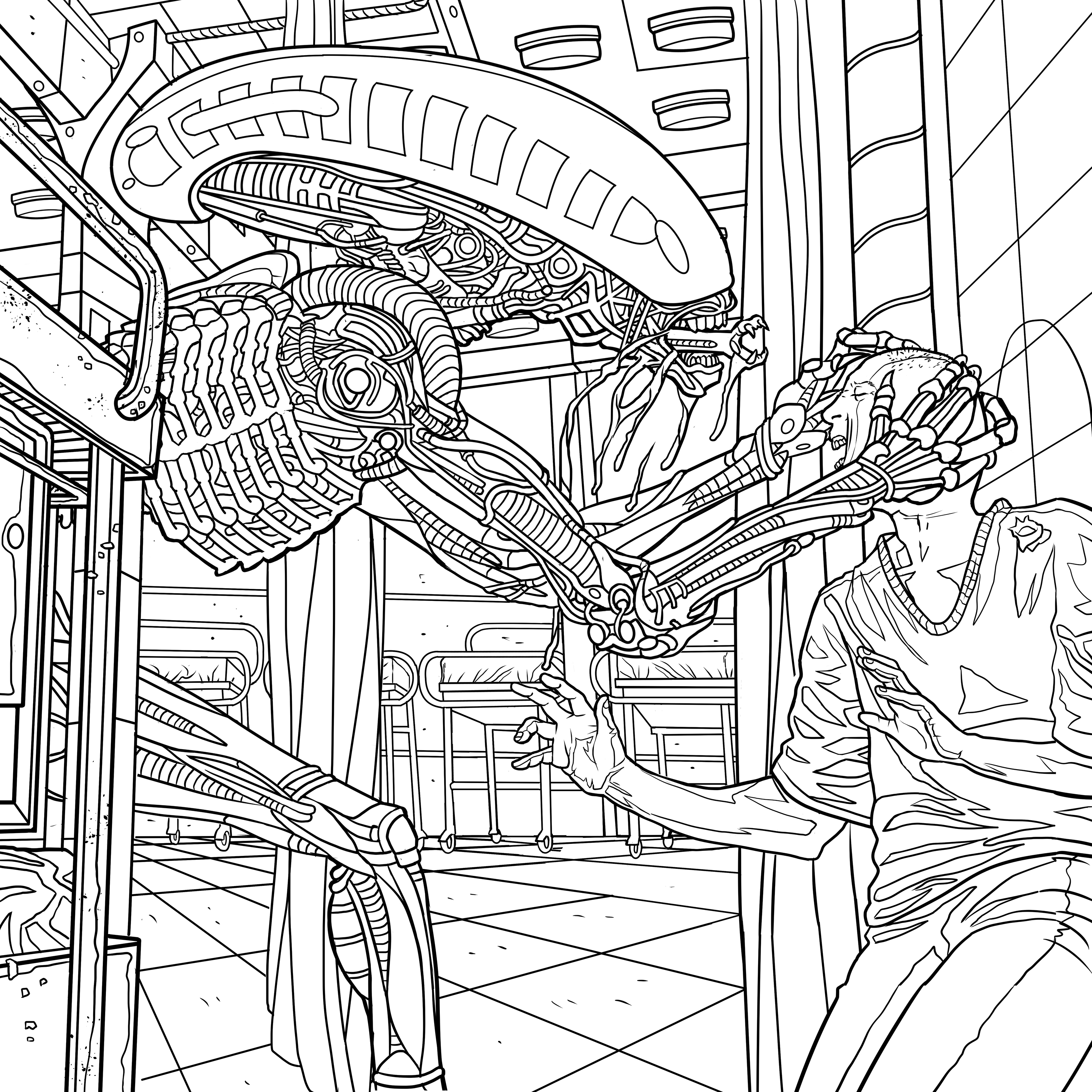 Download Four Exclusive Alien Coloring Book Pages Bloody Disgusting