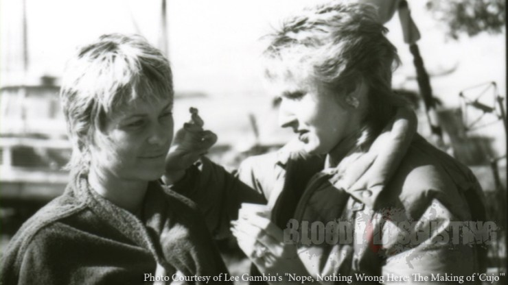 """Dee Wallace getting her makeup applied by Robin Luce (credited as Robin Neal) NOPE, NOTHING WRONG HERE: THE MAKING OF """"CUJO"""" by Lee Gambin"""