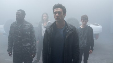 From l to r: Bryan Hunt (Okezie Morro), Mia Lambert (Danica Curcic), Kevin Copeland (Morgan Spector) and Adrian Garf (Russell Posner) seek sanctuary from an eerie and foreboding mist containing a myriad of inexplicable and bizarre threats and puts their humanity to the test in Spike TV's THE MIST, based on a story by Stephen King, which premieres Thursday, June 22 at 10 PM, ET/PT.