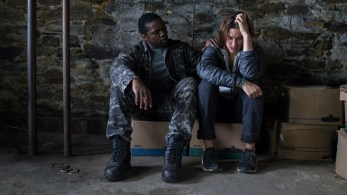 From l to r: Bryan Hunt (Okezie Morro) comforts Mia Lambert (Danica Curcic) as the two join forces to protect themselves from an eerie mist containing a myriad of inexplicable and bizarre threats in Spike TV's THE MIST, based on a story by Stephen King, which premieres Thursday, June 22 at 10 PM, ET/PT.