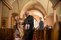 From l to r: Nathalie Raven (Frances Conroy) and Fr. Romanov (Dan Butler) become at odds over what is causing the mist in Spike TV's THE MIST, based on a story by Stephen King, which premieres on Thursday, June 22 at 10 PM, ET/PT.