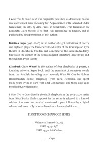 Colophon page of the chapbook, including book description, author and translator bios, and information about the chapbook series. There is a blank at the bottom for the handwritten number: __ of 150.