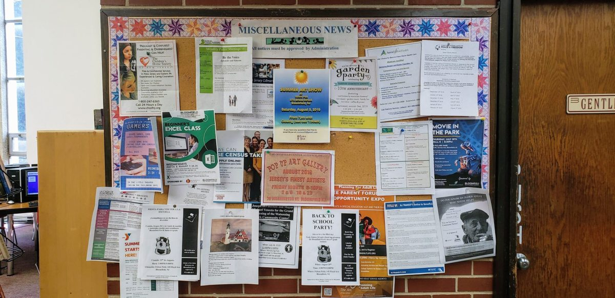 A bulletin board at the Bloomfield Public Library in Bloomfield, New Jersey displays notices of upcoming events.