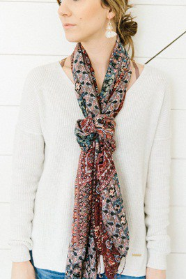 Long Knotted Scarf Necklace