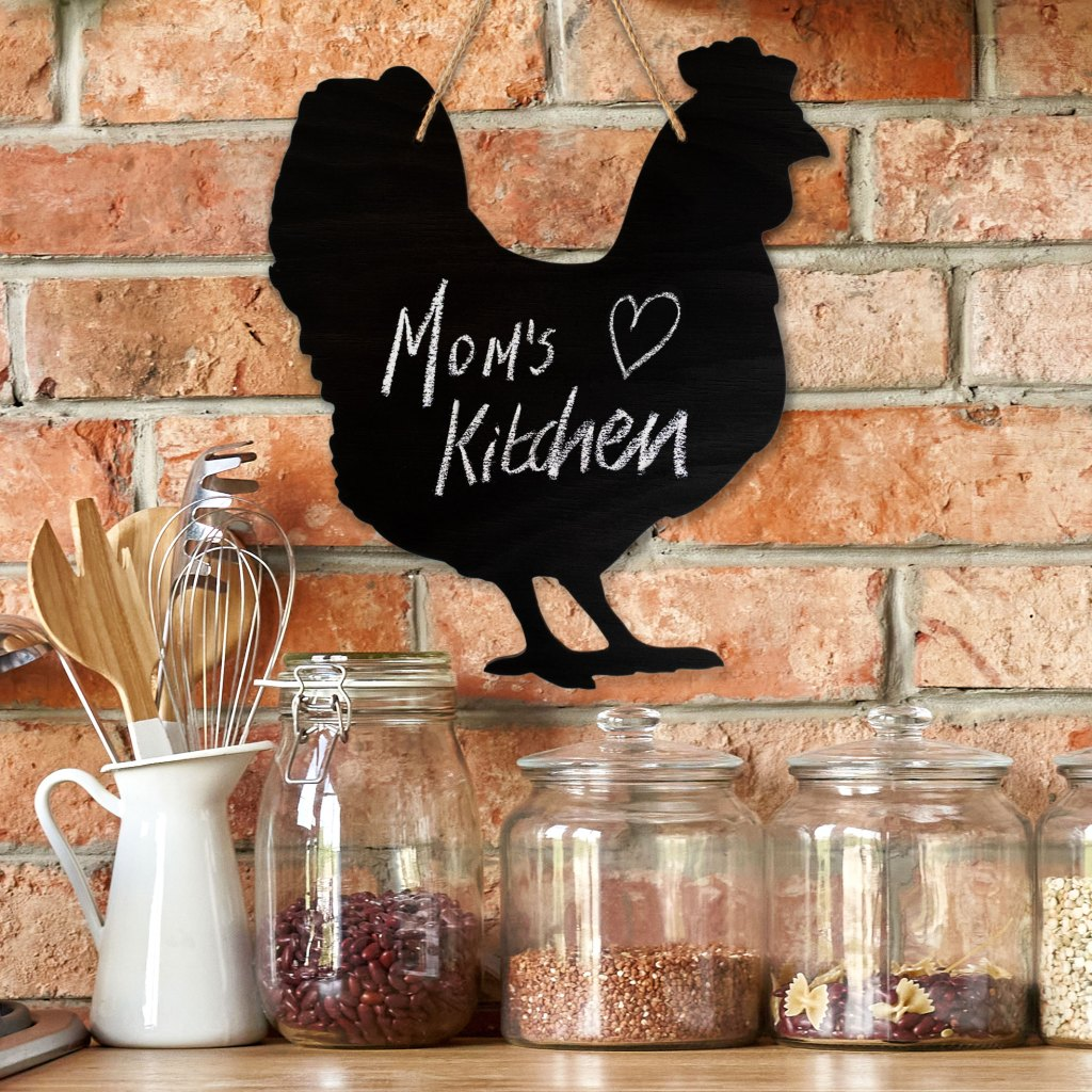 rustic chalkboard with mom's kitchen sign