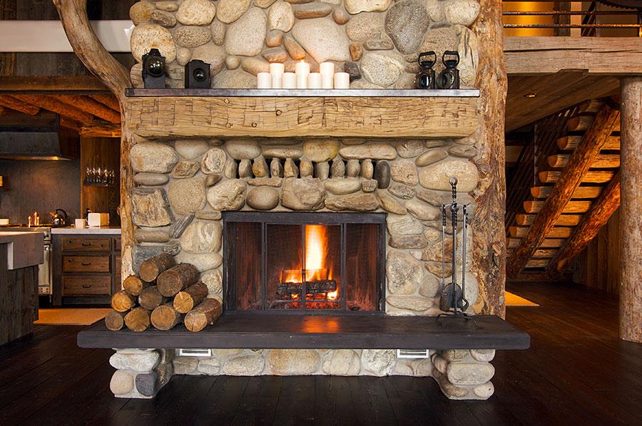 rustic wood cabin fireplace