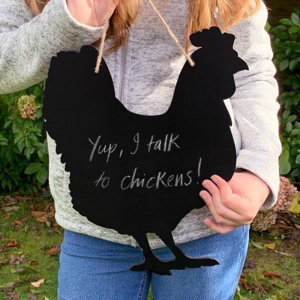 rustic chicken chalkboard - held in girl's hands