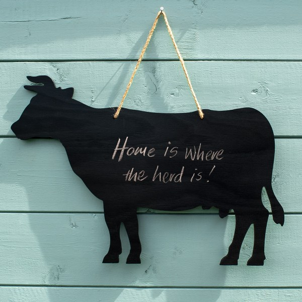 rustic cow chalkboard - home is where the herd is quote
