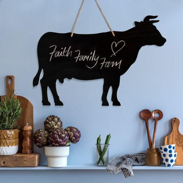 rustic cow chalkboard - faith, family, farm quote