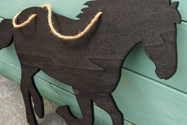 rustic horse chalkboard - close up detail