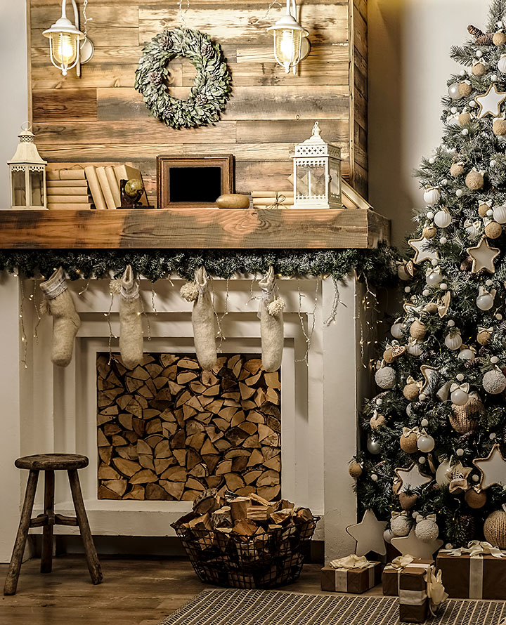 modern rustic foreplace with christmas decor