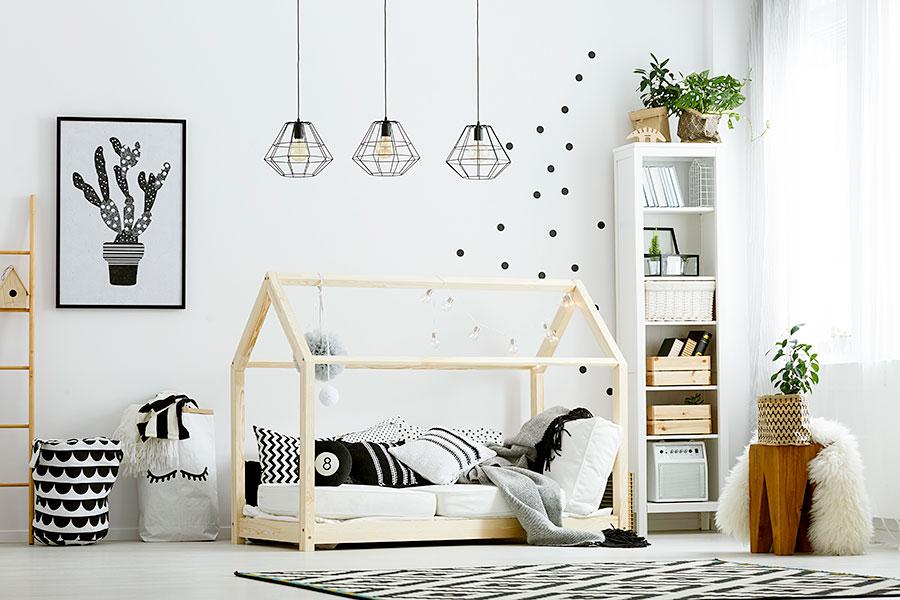 modern boho rustic decor kids bedroom in white