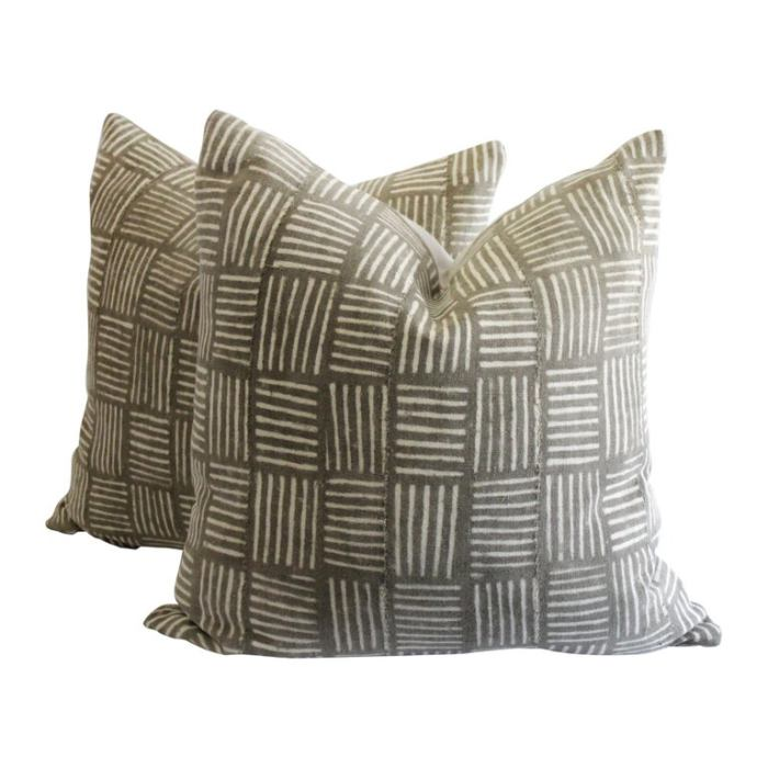 Antique Tribal Brown and Cream Nubby Textile Pillow