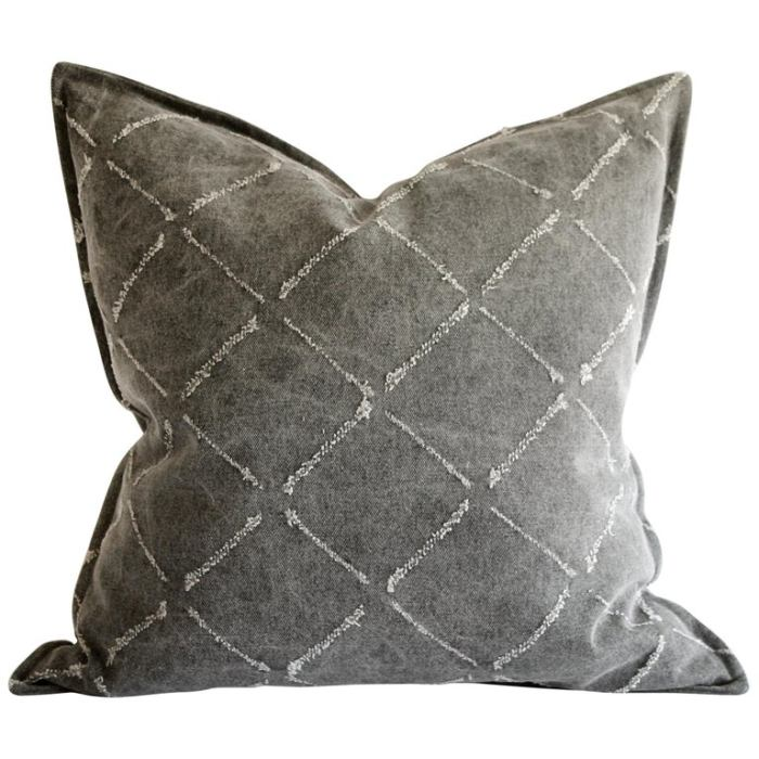Gray Stone Washed Linen Pillows with Diamond Frayed Details