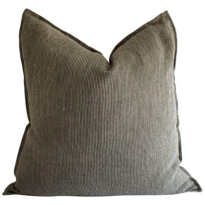 Black and Tan Minimalist Natural Linen Striped Pillow