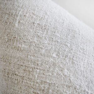 Antique French Linen Textile Pillow with Seam