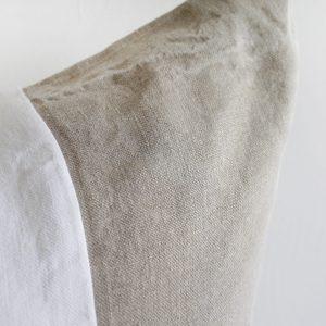 Custom Made Belgian Linen Euro Shams Natural and White Colorblock