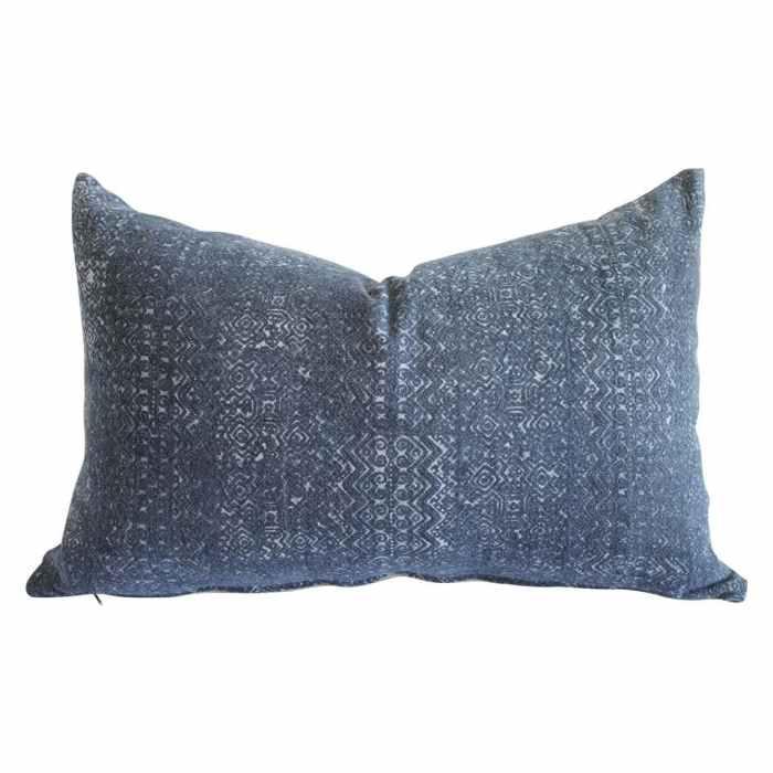 Vintage Indigo Faded Blue Batik Lumbar Pillow