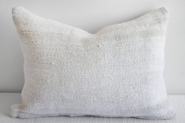 Vintage Woven Turkish Rug Pillow Off-White with Stripes