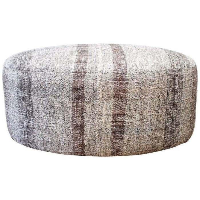 Vintage Flat Weave Turkish Hemp Rug in Creamy White and Brown Stripes