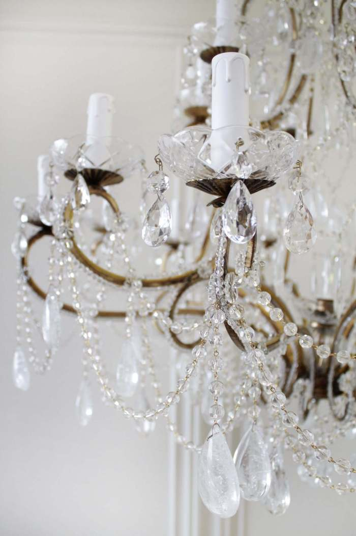 Antique Reproduction Italian Chandelier with Rock Style Crystals