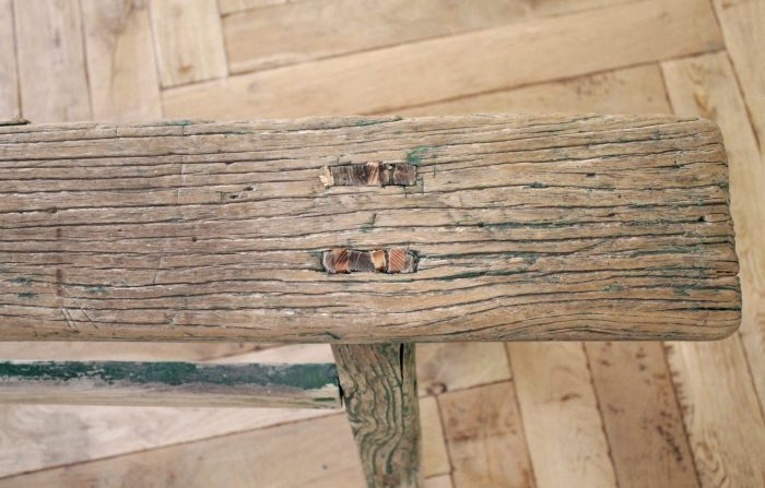 Chinese Elmwood Bench with Faded Green Paint