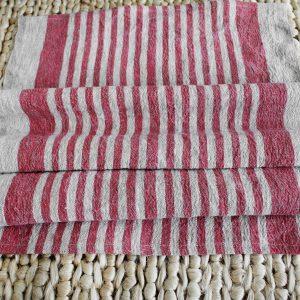 100% Belgium Linen Hand Towel/Red